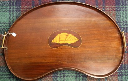 Kidney Shaped Inlaid Mahogany Tray