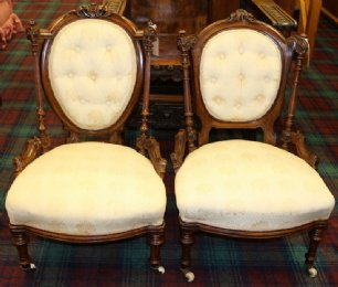 Near Matching Small 19th cent Walnut Chairs