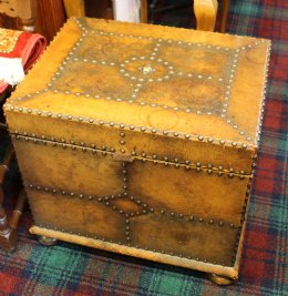 Studded Leather Covered Coal Box
