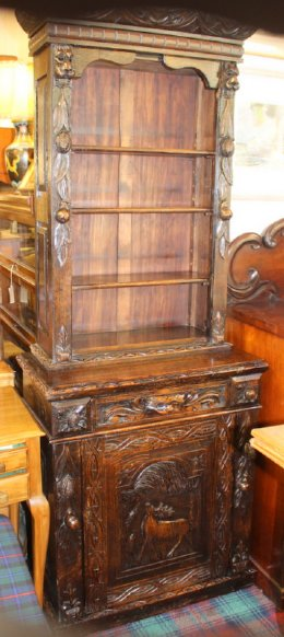 19th cent Carved Oak Bookcase/Cupboard - SOLD