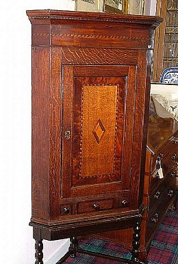 19th Cent Inlaid Oak Corner Cabinet on Stand