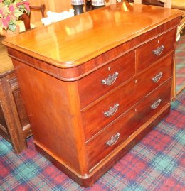 19th cent Mahogany 4 Drawer Chest