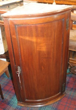 19th cent Mahogany Bow Front Wall Cupboard