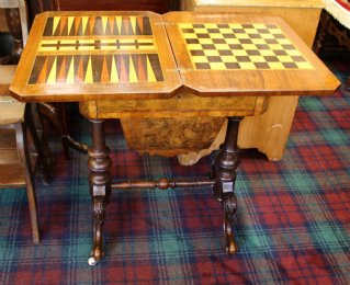 19th cent Walnut Sewing /Games Table