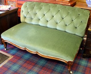 Button Backed Rosewood Framed Settee