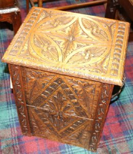Carved Box with Wrought Iron Handles
