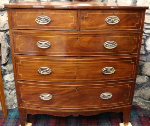 Early 19th cent Bow Front Mahogany Chest