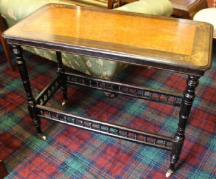 Ebonised & Walnut Victorian Side Table