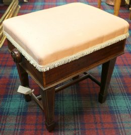 Inlaid Mahogany Adjustable Piano Stool
