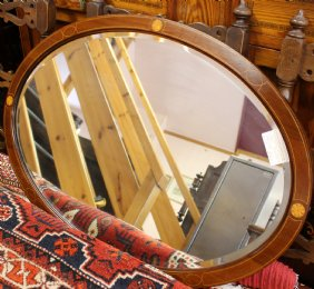 Inlaid Mahogany Oval Mirror