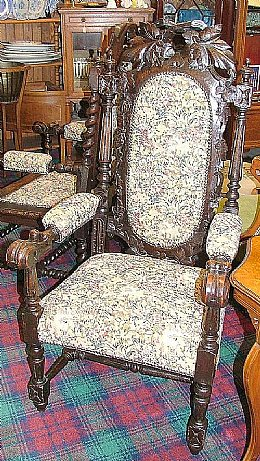 Large Carved Oak Victorian Armchair