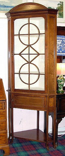Large Edwardian Corner Display Cabinet
