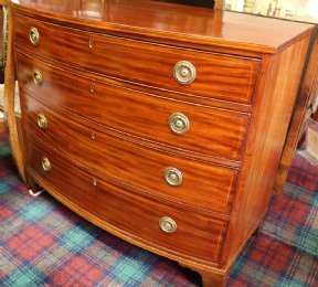 Mahogany Bow Front Chest - SOLD