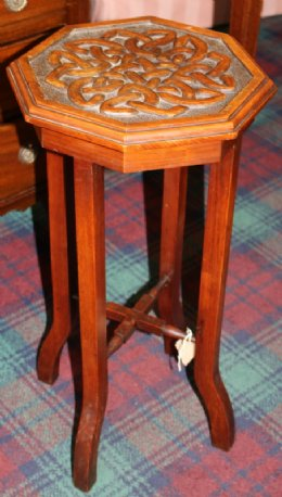 Mahogany Side Table with Celtic Knot Carving
