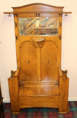 Oak Hallstand with Seat - SOLD