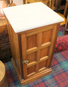 Mahogany Pot Cupboard - Marble Top