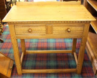 Oak Table with Two Drawers - SOLD