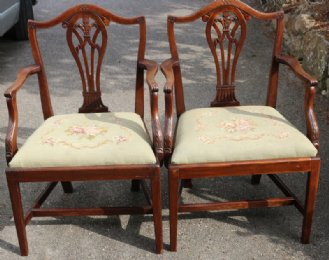 Pair of 19th cent Open Armchairs