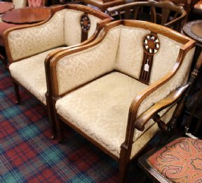 Pair of Inlaid Mahogany Edwardian Chairs - SOLD