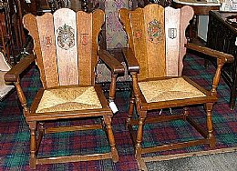 Pr Dutch Oak Armchairs