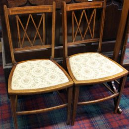 Pr Edwardian Inlaid Mahogany Chairs
