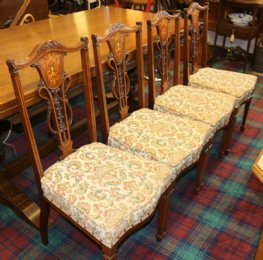 Set of 4 Victorian Mahogany Inlaid Chairs