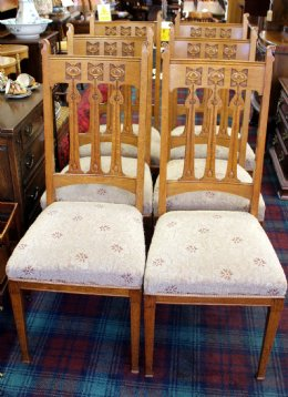 Set of 6 Oak Art Nouveau Chairs
