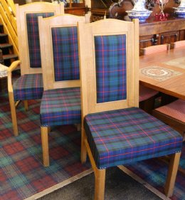 Tartan covered oak chairs