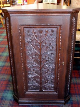 Thistle Carved Corner Cabinet (Skibo Interest)