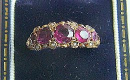 15ct Gold, Amethyst & Pearl Ring ( Dated 1872 )