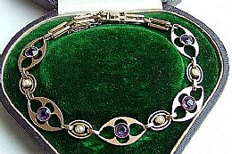 Victorian 15ct, Gold,Amethyst & Seed Pearl Bracelet