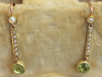 15ct Pearl & Peridot Earrings -Circa1900