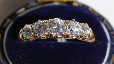 18ct, 5 stone old cut diamond ring