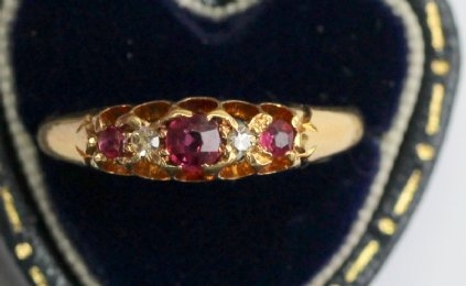 18ct Edwardian Ruby & Diamond Ring - SOLD