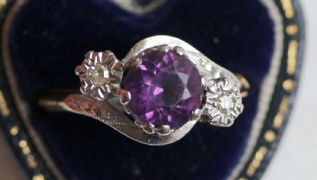 18ct gold, Amethyst & Diamond Ring