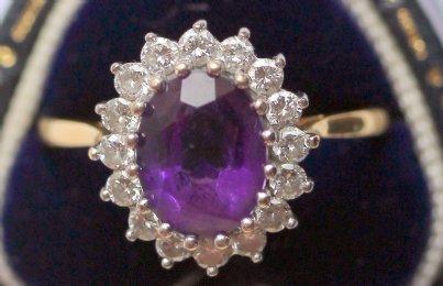 18ct gold, Amethyst & Diamond Ring - SOLD