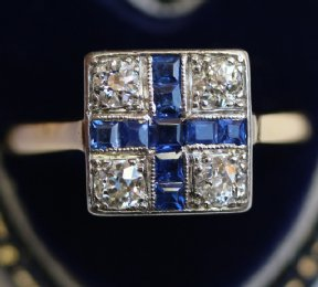 18ct Gold, Art Deco Sapphire & Diamond Ring