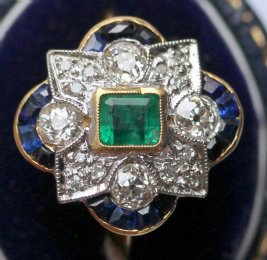 18ct gold, Diamond, Emerald ,&Sapphire ring