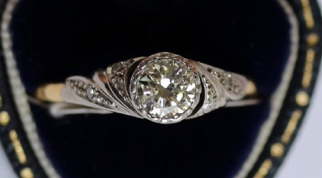 18ct Gold Diamond Ring (set in platinum)