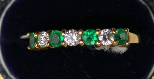 18ct Gold Emerald & Diamond Ring