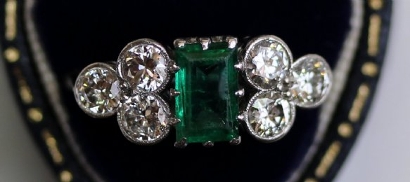 18ct Gold ,Emerald & Diamond Ring - SOLD