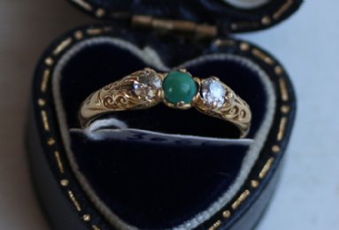 18ct Gold ,Emerald & Diamond Ring