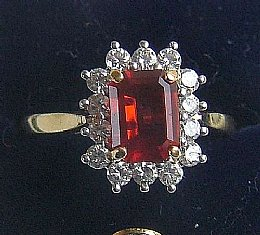 18ct Gold, Fire Opal & Diamond Ring
