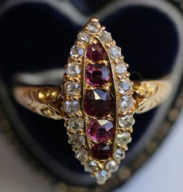 18ct Gold, Old Cut Diamond & Ruby Ring