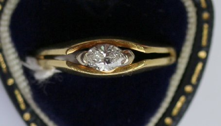 18ct Gold, Marquis Cut Diamond Ring
