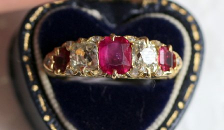 18ct gold, old cushion cut Diamonds & Rubies
