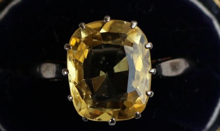 18ct Gold, Old Cushion Cut Yellow Sapphire - SOLD