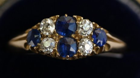 18ct Gold, old cut Diamonds & Sapphires