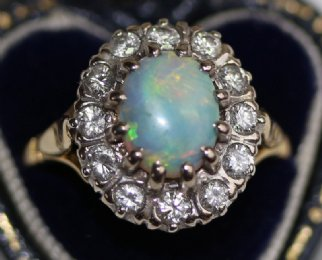 18ct Gold, Opal & Diamond Ring