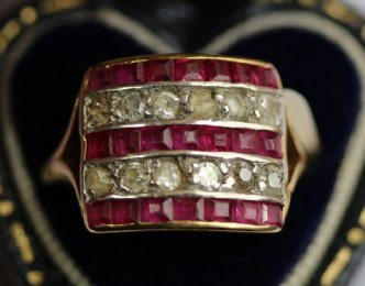 18ct gold Ruby & Diamond Plaque Ring